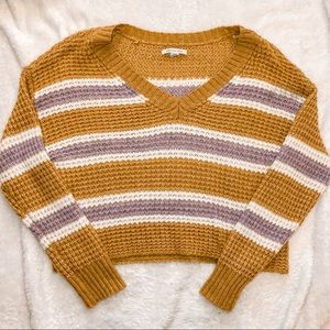 American Eagle Striped Oversized Cropped Sweater